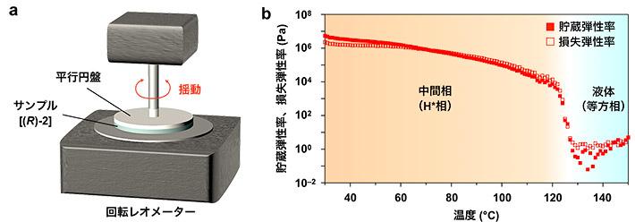 図3. (a)回転レオメーターを用いた(b)温度可変動的粘弾性測定の結果