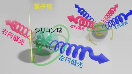 球体からの円偏光放射の制御に成功